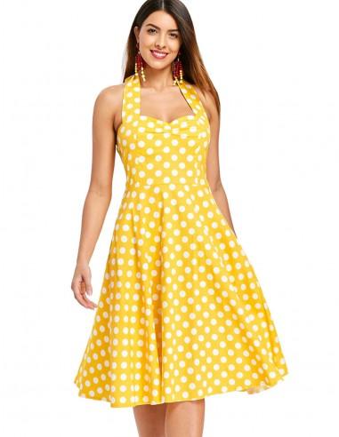 Vestido De Bolinha Amarelo P41