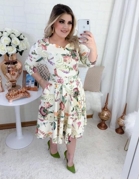 Vestido Floral Bege V02