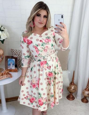 Vestido De Bolinha Floral Bege V01