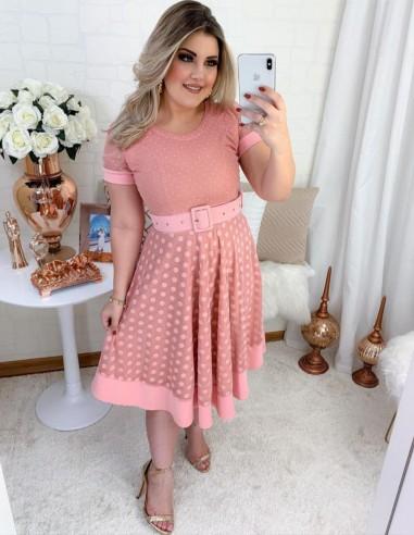 Vestido De Bolinha Tule Rosa V03