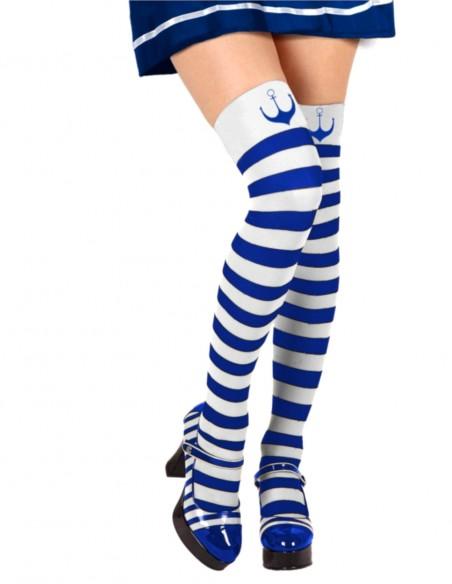 Meia Fantasia Marinheira Retro Vintage Listrada Azul Com Branco 01