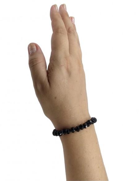 Pulseira de Pedras Cristais Black Com Elástico