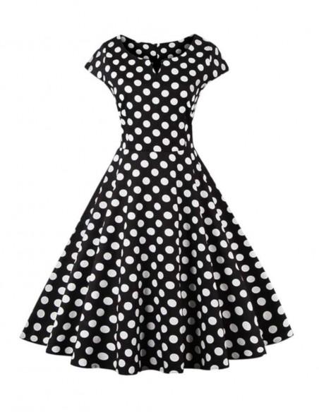 Vestido De Bolinha Anos 60 Festa Vintage Retrô Bola P49 01