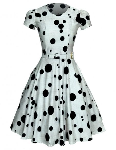 Vestido Feminino Retrô De Bolas Anos 60 Vintage Pinup 10