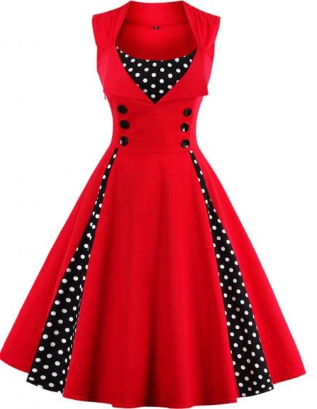 Vestido Feminino Retrô De Bolas Anos 60 Vintage Pinup