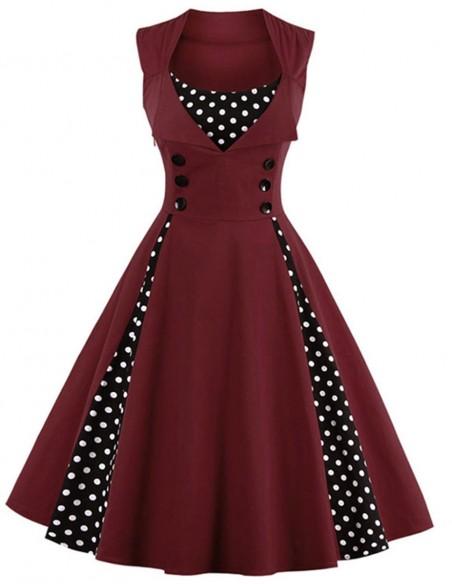 Vestido Retrô De Bolas Anos 60 Vintage Pinup