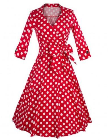 Vestido De Bolinha Vermelho P09